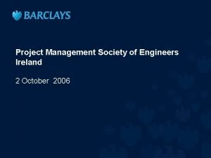 Project Management Society of Engineers Ireland 2 October