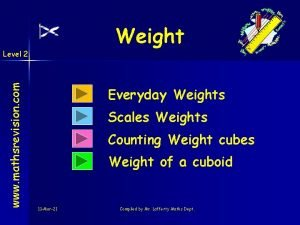 Weight www mathsrevision com Level 2 Everyday Weights