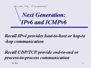 Also called IPng IP next generation Next Generation