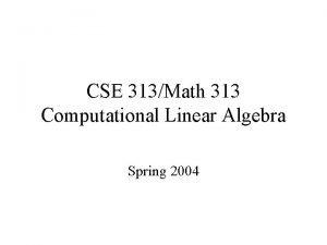 CSE 313Math 313 Computational Linear Algebra Spring 2004