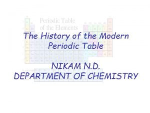 The History of the Modern Periodic Table NIKAM