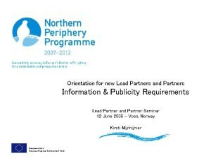 Orientation for new Lead Partners and Partners Information