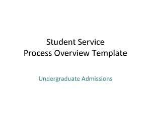 Student Service Process Overview Template Undergraduate Admissions What