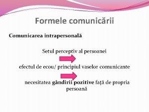 Formele comunicrii Comunicarea intrapersonal Setul perceptiv al persoanei
