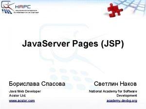 Java Server Pages JSP Java Web Developer Acsior