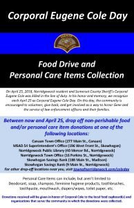 Corporal Eugene Cole Day Food Drive and Personal