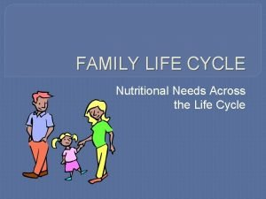 FAMILY LIFE CYCLE Nutritional Needs Across the Life