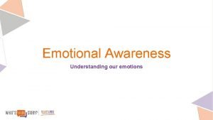 Emotional Awareness Understanding our emotions Before you put
