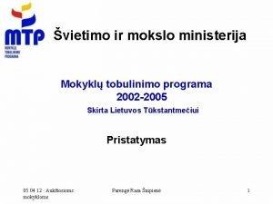 vietimo ir mokslo ministerija Mokykl tobulinimo programa 2002