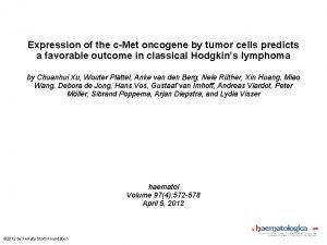 Expression of the cMet oncogene by tumor cells