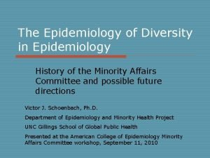 The Epidemiology of Diversity in Epidemiology History of