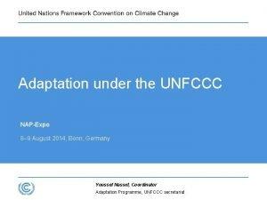 Adaptation under the UNFCCC NAPExpo 8 9 August