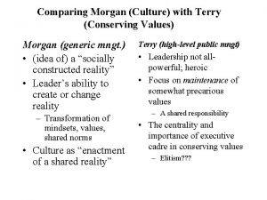 Comparing Morgan Culture with Terry Conserving Values Morgan