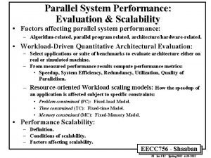 Parallel System Performance Evaluation Scalability Factors affecting parallel