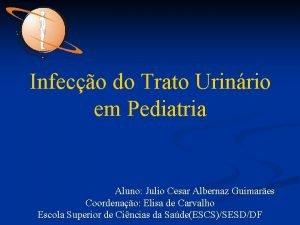 Infeco do Trato Urinrio em Pediatria Aluno Julio
