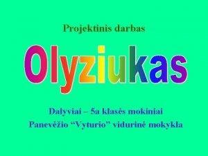 Projektinis darbas Dalyviai 5 a klass mokiniai Panevio