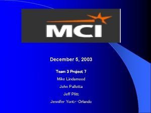 December 5 2003 Team 3 Project 7 Mike