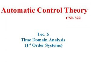 Automatic Control Theory CSE 322 Lec 6 Time