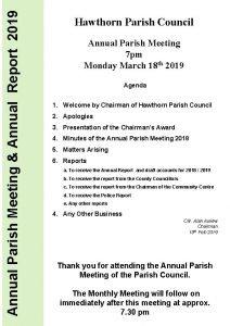 Annual Parish Meeting Annual Report 2019 Hawthorn Parish
