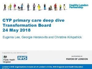 CYP primary care deep dive Transformation Board 24