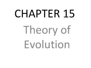 CHAPTER 15 Theory of Evolution Charles Darwin Charles