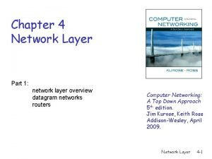 Chapter 4 Network Layer Part 1 network layer