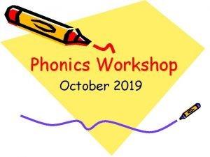 Phonics Workshop October 2019 Phonics Aims of the