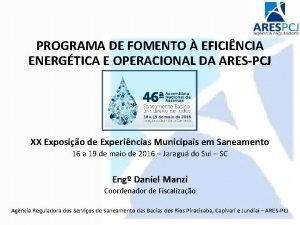 PROGRAMA DE FOMENTO EFICINCIA ENERGTICA E OPERACIONAL DA
