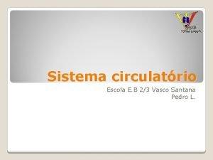 Sistema circulatrio Escola E B 23 Vasco Santana