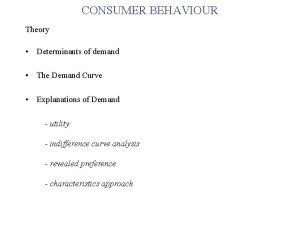 CONSUMER BEHAVIOUR Theory Determinants of demand The Demand