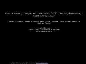 In vitro activity of cyclindependent kinase inhibitor CYC