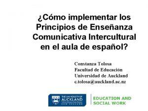 Cmo implementar los Principios de Enseanza Comunicativa Intercultural