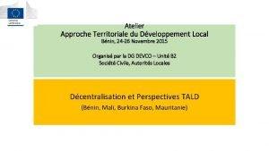 Atelier Approche Territoriale du Dveloppement Local Bnin 24