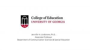 Jennifer H Lindstrom Ph D Associate Professor Department