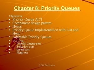 Chapter 8 Priority Queues Objectives Priority Queue ADT
