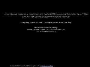Regulation of Collagen V Expression and EpithelialMesenchymal Transition