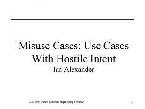 Misuse Cases Use Cases With Hostile Intent Ian