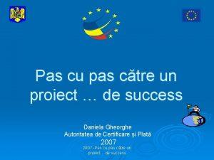 Pas cu pas ctre un proiect de success