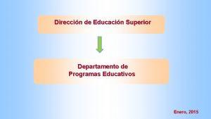 Direccin de Educacin Superior Departamento de Programas Educativos