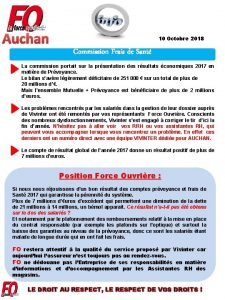 Auchan 10 Octobre 2018 Commission Frais de Sant