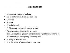Plasmodium It is causative agent of malaria out