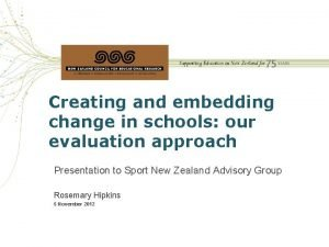 Creating and embedding change in schools our evaluation