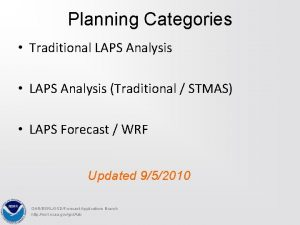 Planning Categories Traditional LAPS Analysis LAPS Analysis Traditional