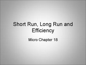 Short Run Long Run and Efficiency Micro Chapter