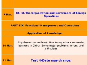Forthcoming schedule HSE International Ch 16 The Organization