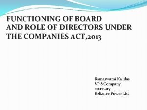 FUNCTIONING OF BOARD AND ROLE OF DIRECTORS UNDER