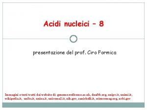 Acidi nucleici 8 presentazione del prof Ciro Formica