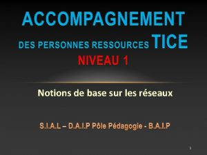 Notions de base sur les rseaux 1 Notions