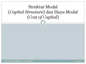 Struktur Modal Capital Structure dan Biaya Modal Cost