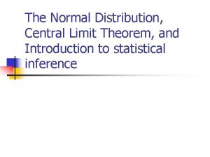 The Normal Distribution Central Limit Theorem and Introduction